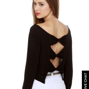 Long sleeve crop top w/ bows on back